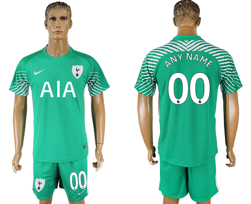 Men 2017-2018 club Tottenham Hotspur green goalkeeper customized soccer jersey