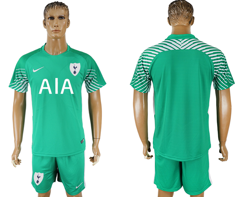 Men 2017-2018 club Tottenham Hotspur green goalkeeper soccer jersey
