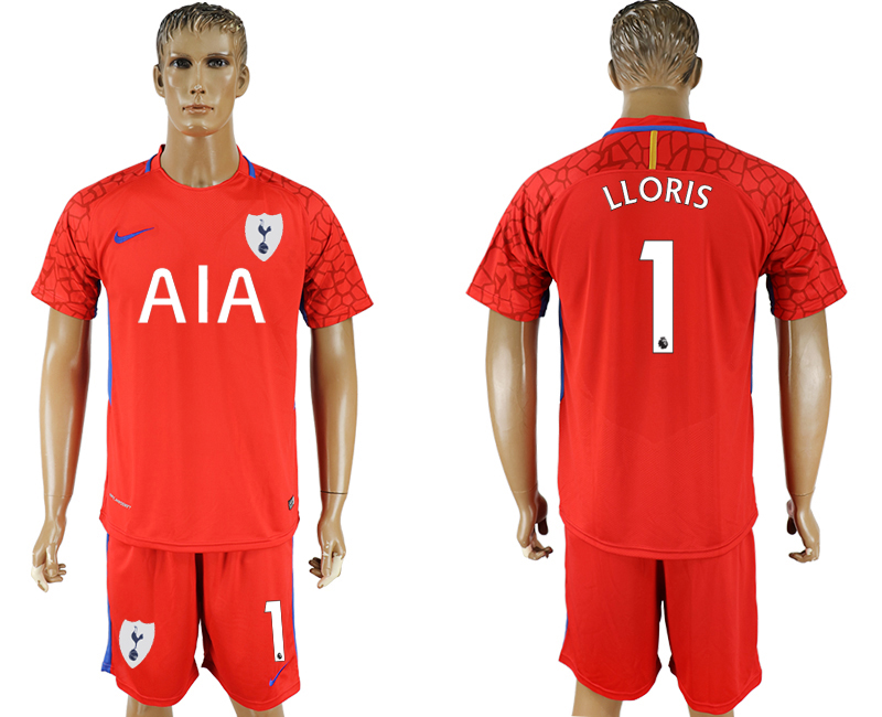 Men 2017-2018 club Tottenham Hotspur red goalkeeper 1 soccer jersey