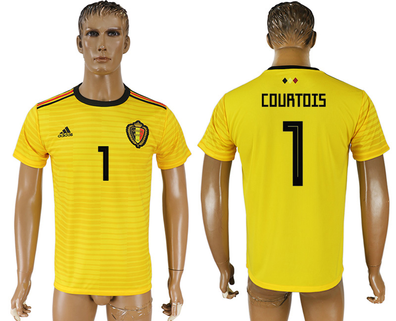 Men 2018 World Cup Belgium away aaa version 1 yellow soccer jersey