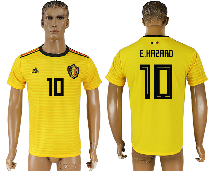 Men 2018 World Cup Belgium away aaa version 10 yellow soccer jersey