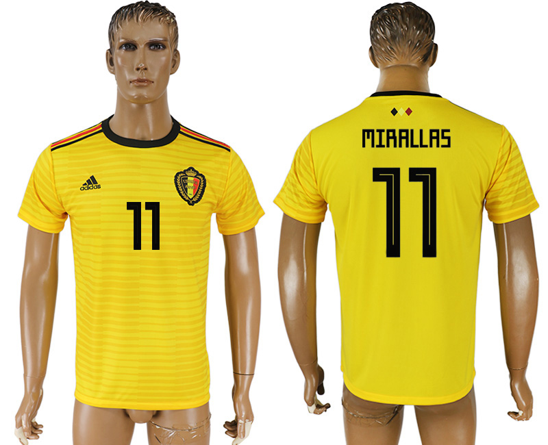 Men 2018 World Cup Belgium away aaa version 11 yellow soccer jersey