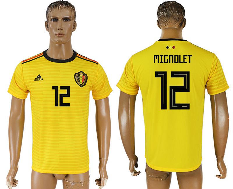 Men 2018 World Cup Belgium away aaa version 12 yellow soccer jersey