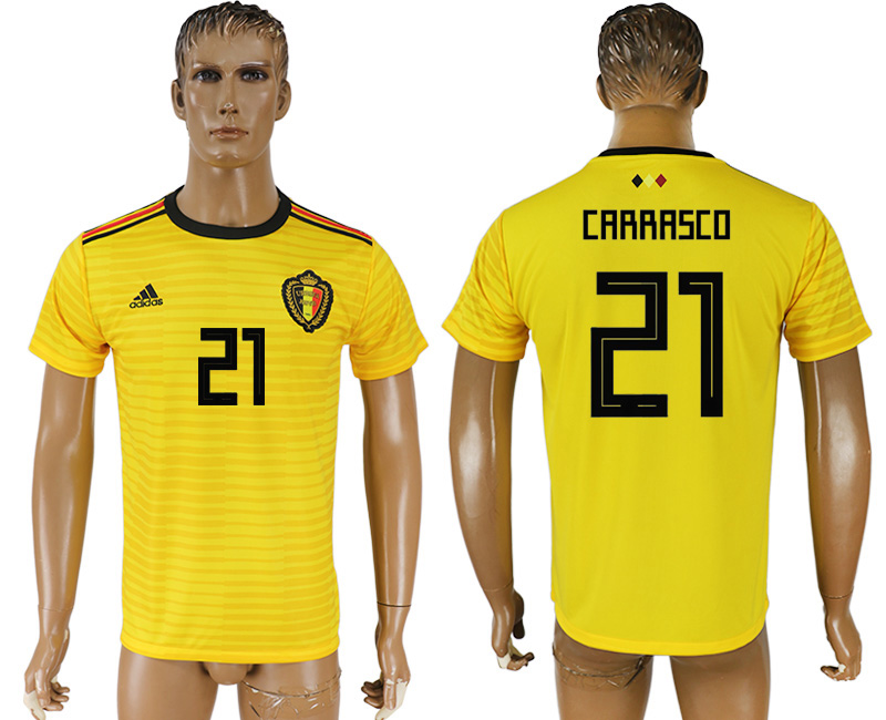 Men 2018 World Cup Belgium away aaa version 21 yellow soccer jersey