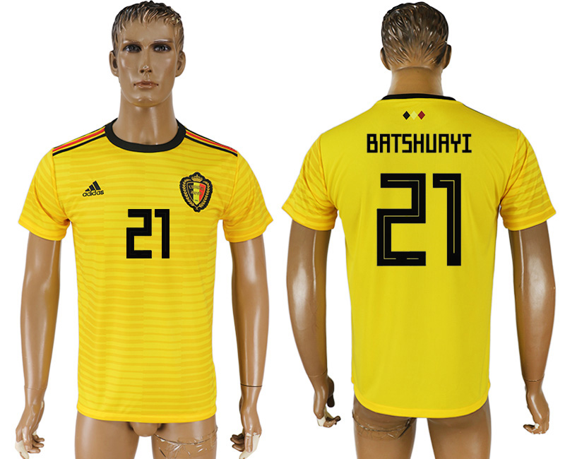 Men 2018 World Cup Belgium away aaa version 21 yellow soccer jersey1