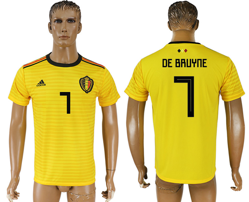 Men 2018 World Cup Belgium away aaa version 7 yellow soccer jersey