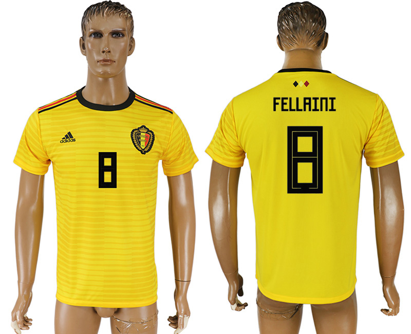 Men 2018 World Cup Belgium away aaa version 8 yellow soccer jersey