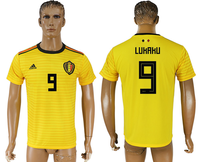 Men 2018 World Cup Belgium away aaa version 9 yellow soccer jersey