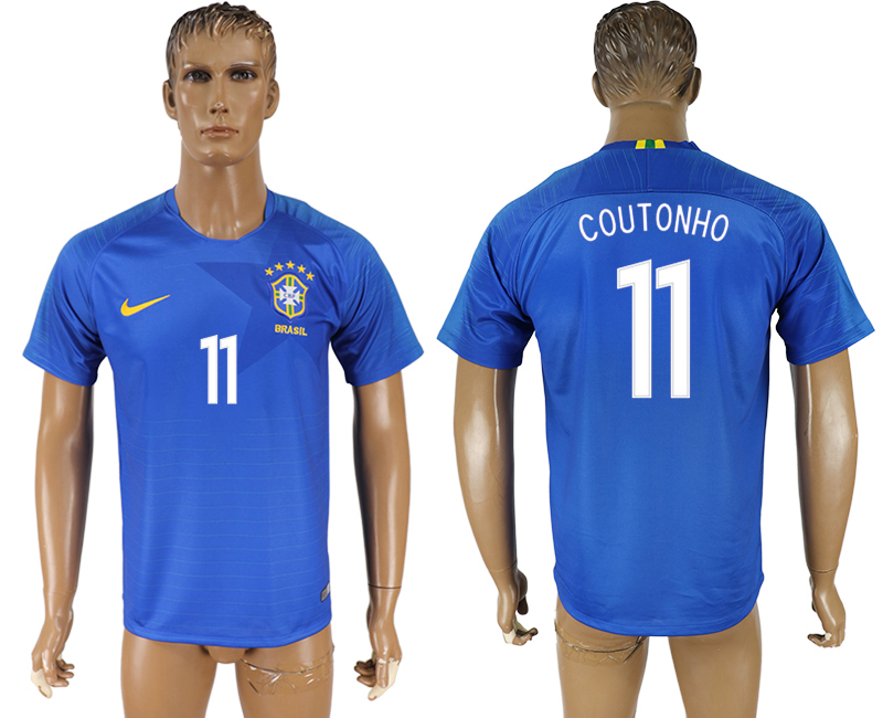Men 2018 World Cup Brazil away aaa version 11 blue soccer jersey1