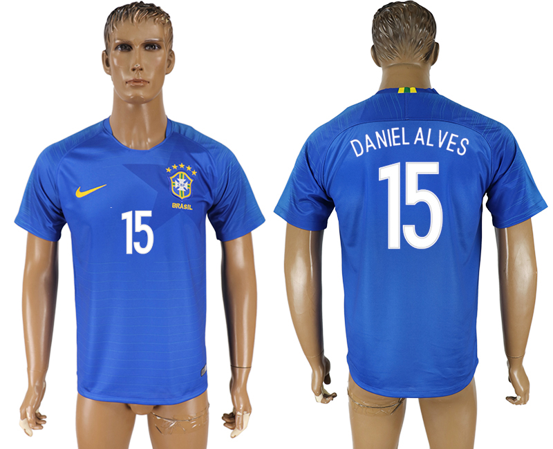 Men 2018 World Cup Brazil away aaa version 15 blue soccer jersey