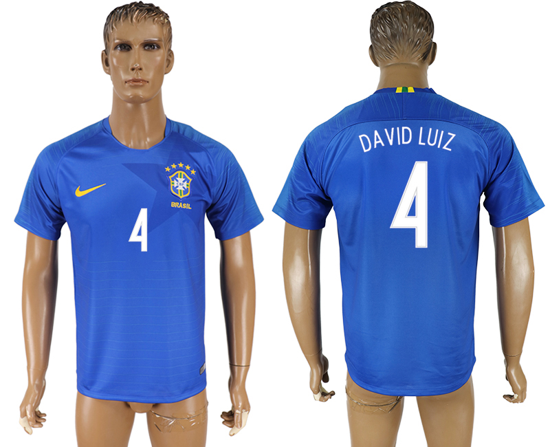 Men 2018 World Cup Brazil away aaa version 4 blue soccer jersey