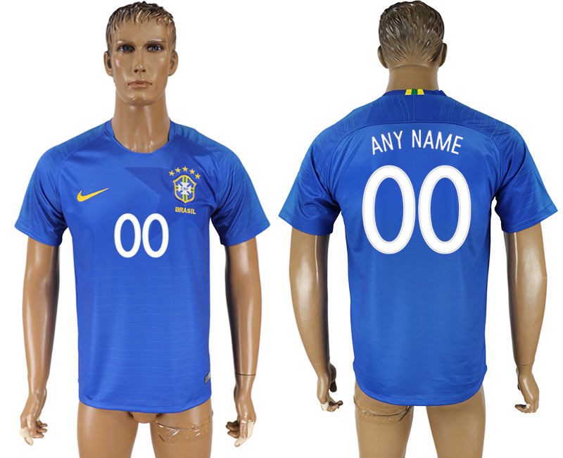 Men 2018 World Cup Brazil away aaa version customized blue soccer jersey