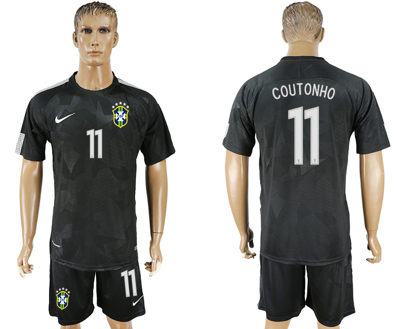 Men 2018 World Cup Brazil black 11 soccer jersey