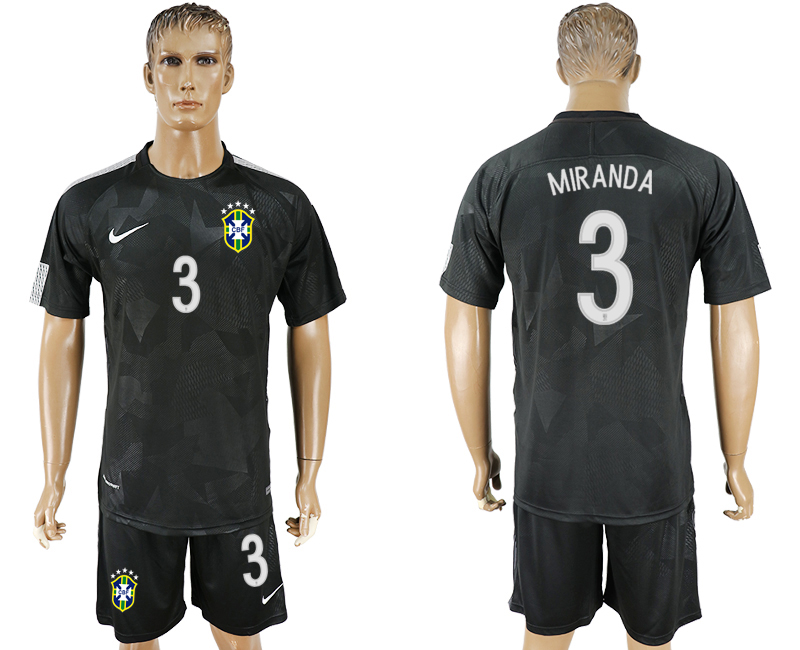 Men 2018 World Cup Brazil black 3 soccer jersey