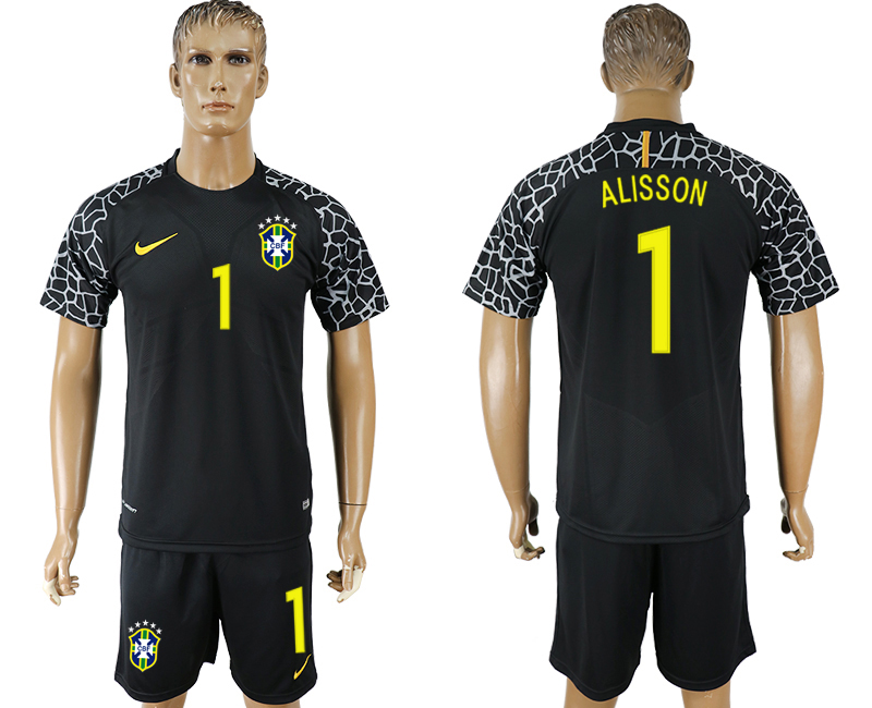 Men 2018 World Cup Brazil black goalkeeper 1 soccer jersey