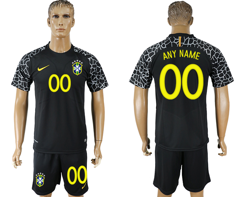 Men 2018 World Cup Brazil black goalkeeper customized soccer jersey