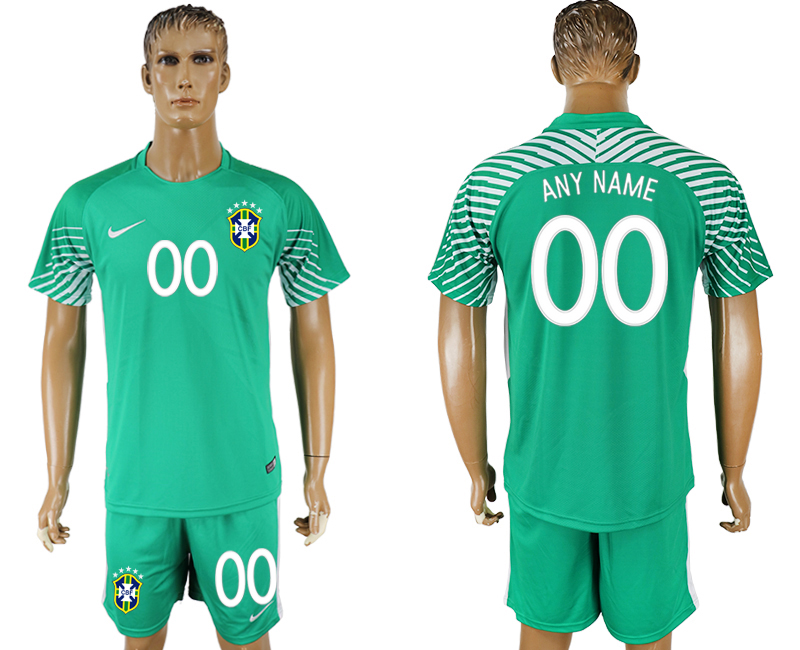 Men 2018 World Cup Brazil green goalkeeper customized soccer jersey