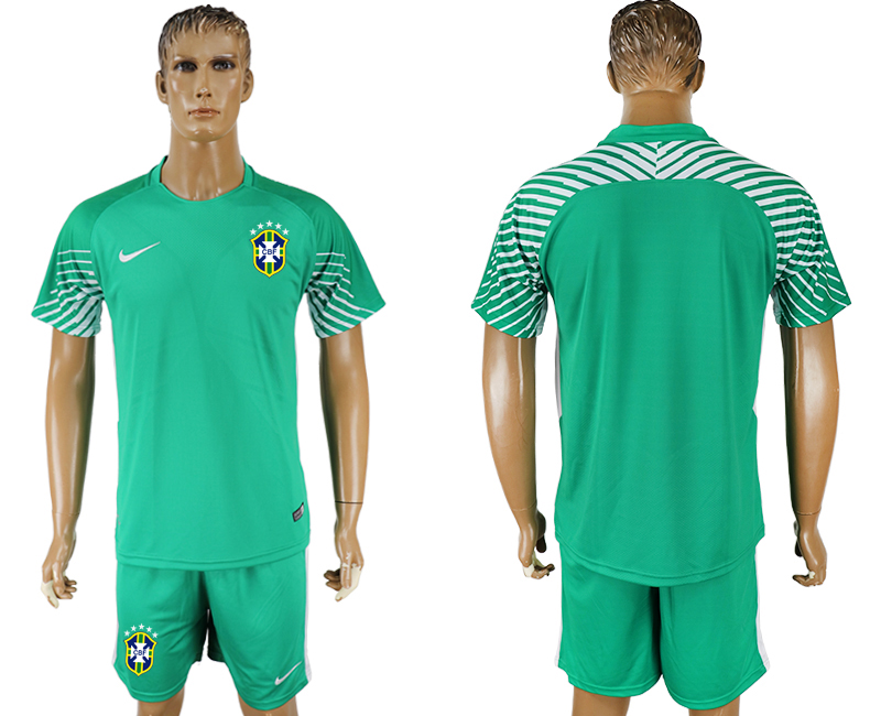 Men 2018 World Cup Brazil green goalkeeper soccer jersey