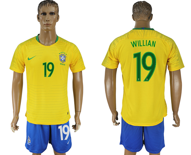 Men 2018 World Cup Brazil home 19 yellow soccer jersey