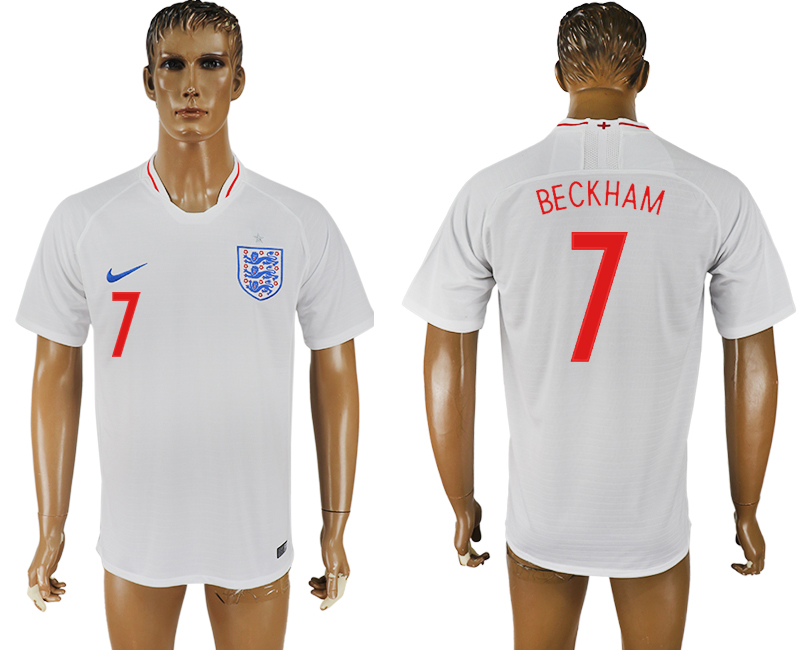 Men 2018 World Cup England home aaa version 7 white soccer jersey