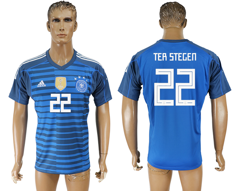 Men 2018 World Cup Germany Lake blue goalkeeper aaa version 22 soccer jersey