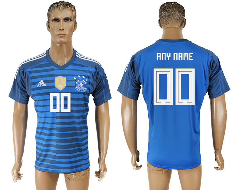Men 2018 World Cup Germany Lake blue goalkeeper aaa version customized soccer jersey