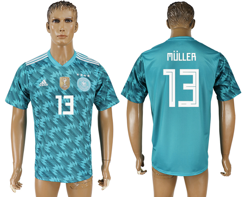 Men 2018 World Cup Germany away aaa version 13 light blue soccer jersey