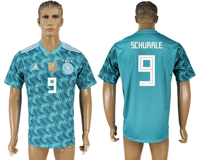 Men 2018 World Cup Germany away aaa version 9 light blue soccer jersey