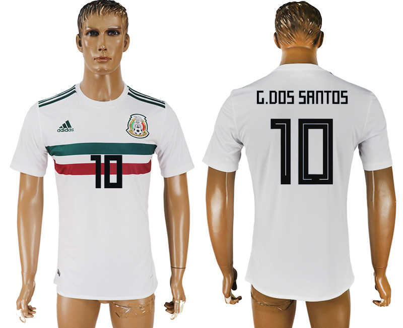 Men 2018 World Cup Mexico away aaa version 10 white soccer jersey