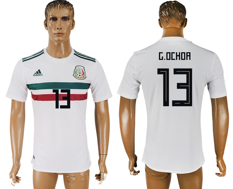 Men 2018 World Cup Mexico away aaa version 13 white soccer jersey