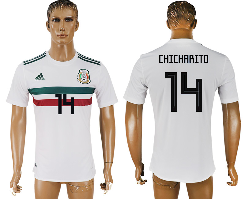 Men 2018 World Cup Mexico away aaa version 14 white soccer jersey