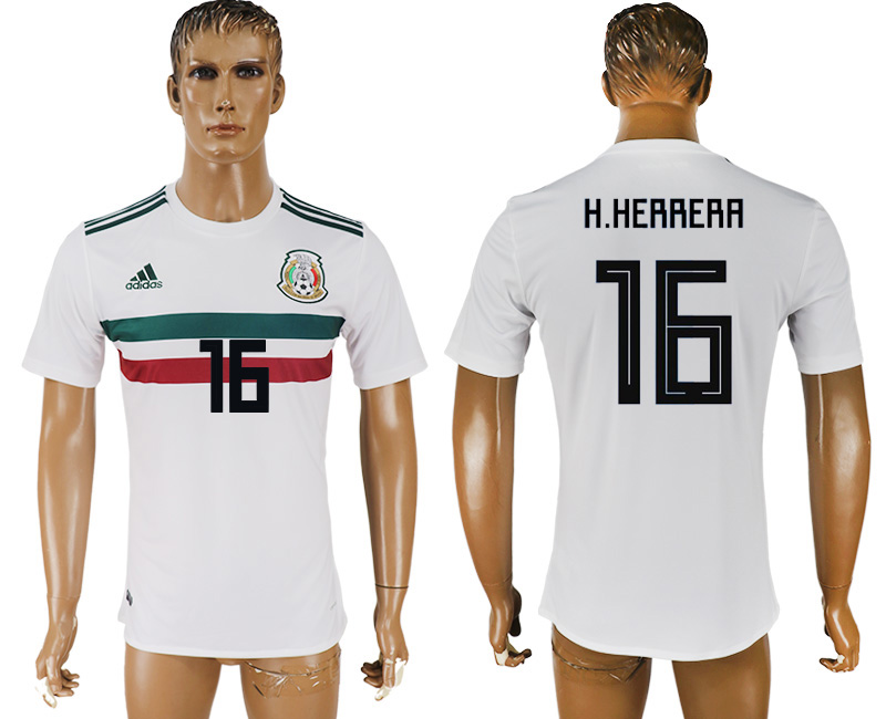 Men 2018 World Cup Mexico away aaa version 16 white soccer jersey
