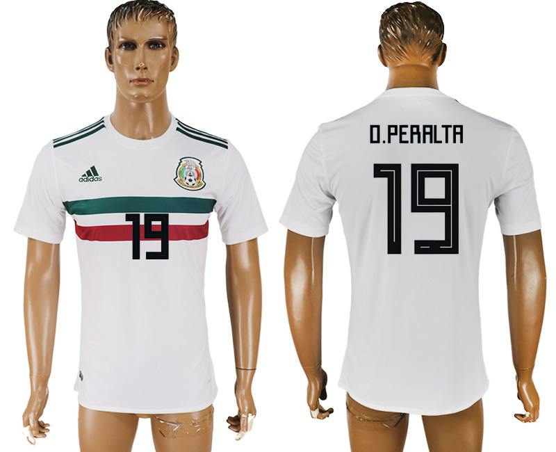 Men 2018 World Cup Mexico away aaa version 19 white soccer jersey