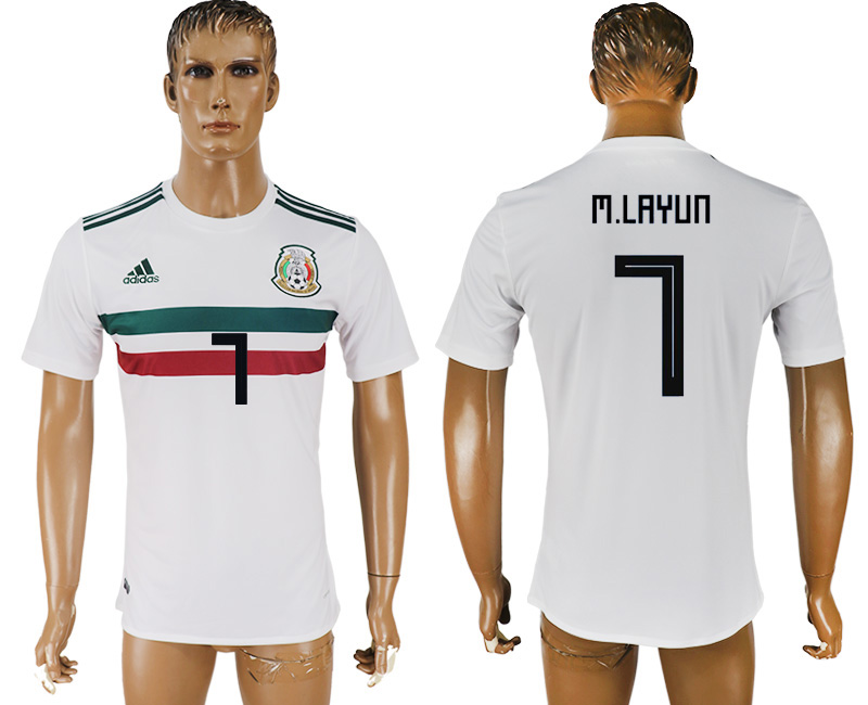 Men 2018 World Cup Mexico away aaa version 7 white soccer jersey