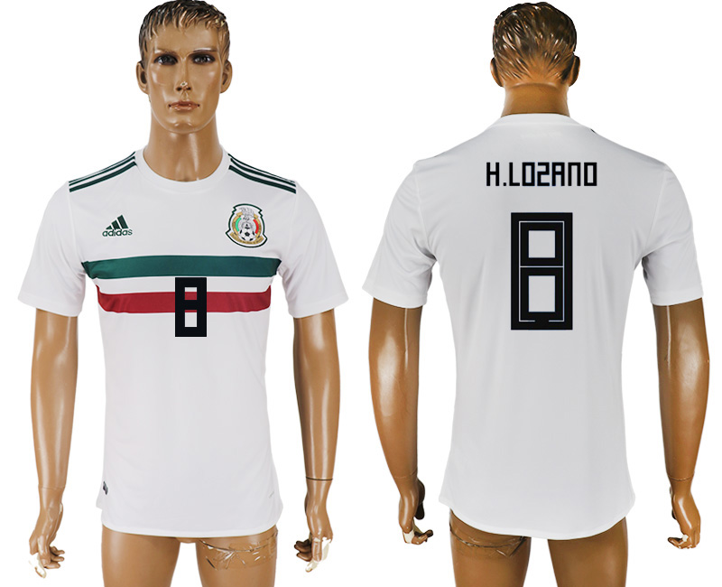 Men 2018 World Cup Mexico away aaa version 8 white soccer jersey