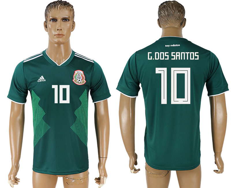 Men 2018 World Cup Mexico home aaa version 10 green soccer jersey