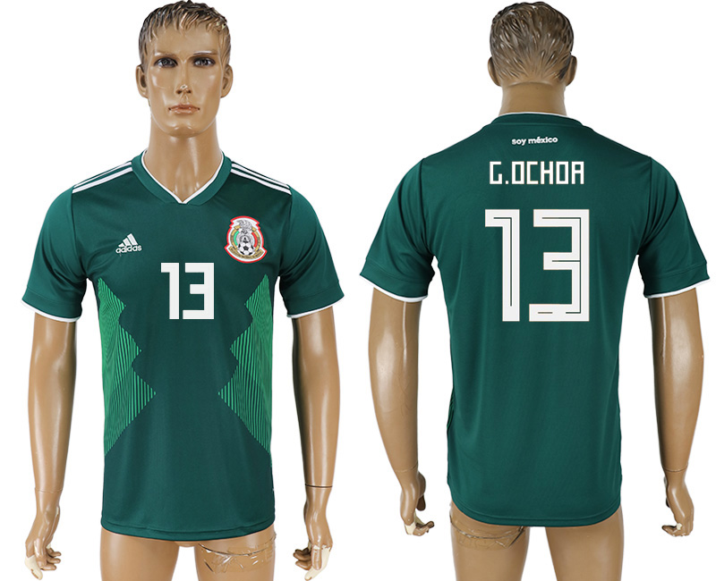 Men 2018 World Cup Mexico home aaa version 13 green soccer jersey