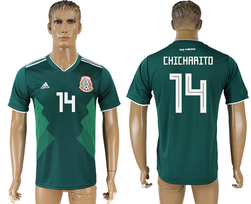 Men 2018 World Cup Mexico home aaa version 14 green soccer jersey