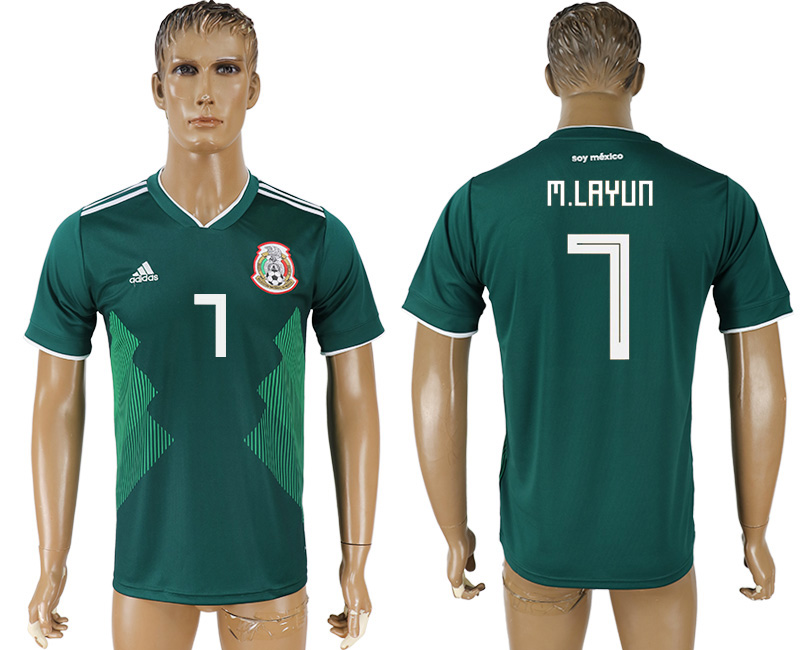 Men 2018 World Cup Mexico home aaa version 7 green soccer jersey