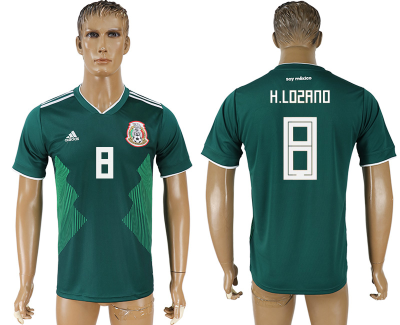 Men 2018 World Cup Mexico home aaa version 8 green soccer jersey