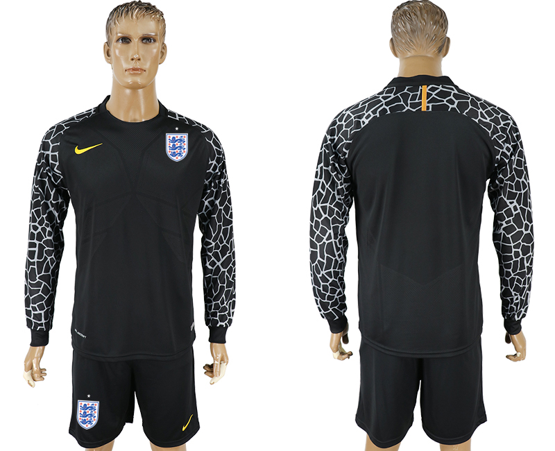 Men 2018 World Cup National England black goalkeeper Long sleeve soccer jersey