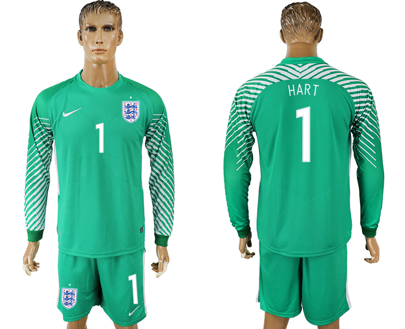 Men 2018 World Cup National England green goalkeeper long sleeve 1 soccer jersey