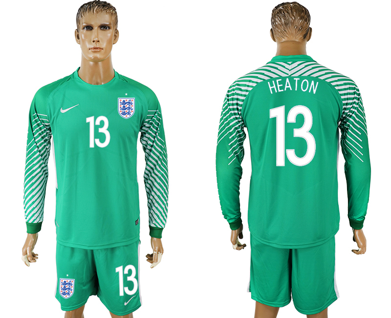 Men 2018 World Cup National England green goalkeeper long sleeve 13 soccer jersey