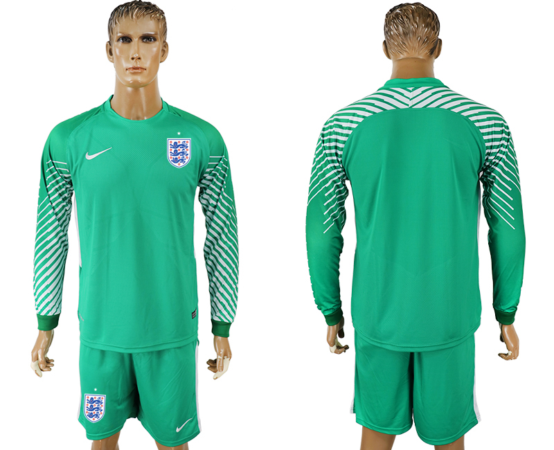 Men 2018 World Cup National England green goalkeeper long sleeve soccer jersey