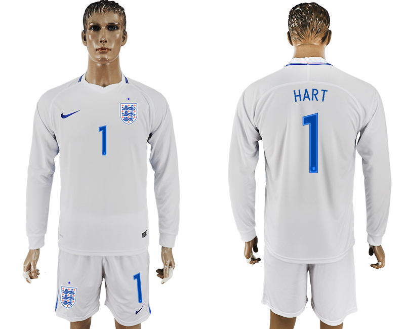 Men 2018 World Cup National England home Long sleeve 1 white soccer jersey