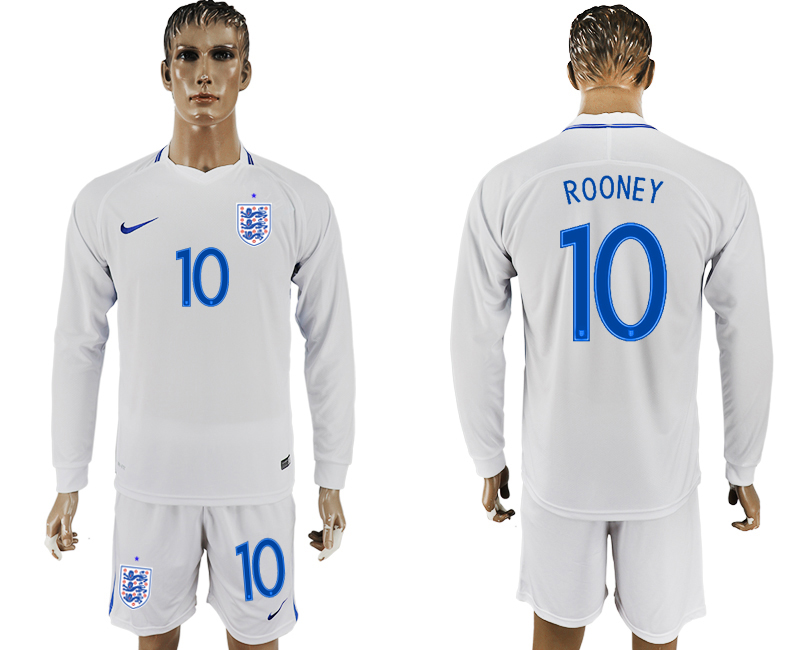 Men 2018 World Cup National England home Long sleeve 10 white soccer jersey