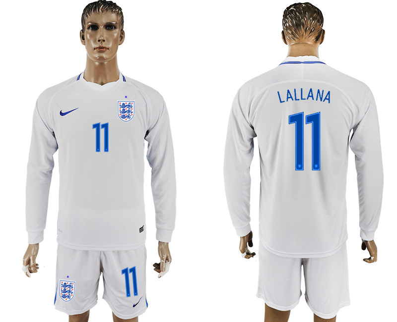 Men 2018 World Cup National England home Long sleeve 11 white soccer jersey