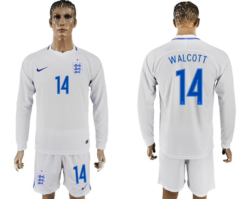Men 2018 World Cup National England home Long sleeve 14 white soccer jersey