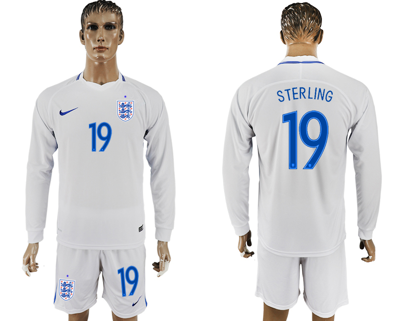 Men 2018 World Cup National England home Long sleeve 19 white soccer jersey