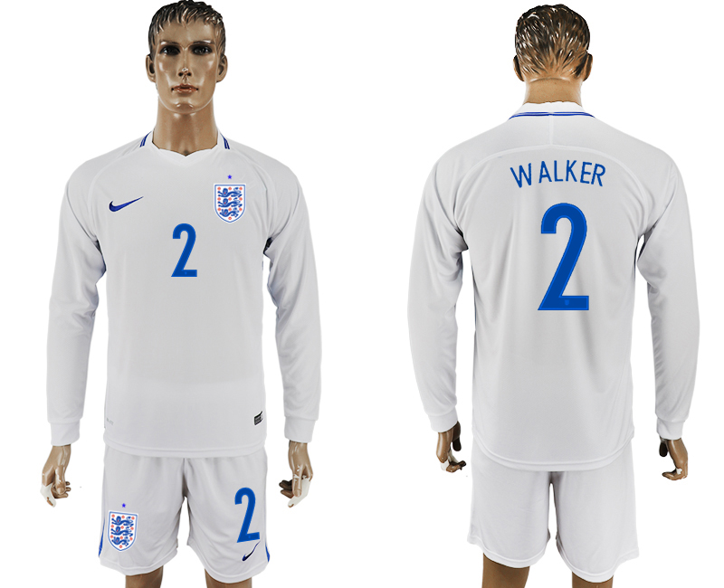 Men 2018 World Cup National England home Long sleeve 2 white soccer jersey